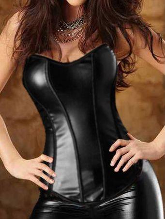 Corsé Negro Satin Espctacular Corsé Negro Satin de estilo gótico. Con un diseño de imtación de piel que te hará sentir muy sexy y salvaje.