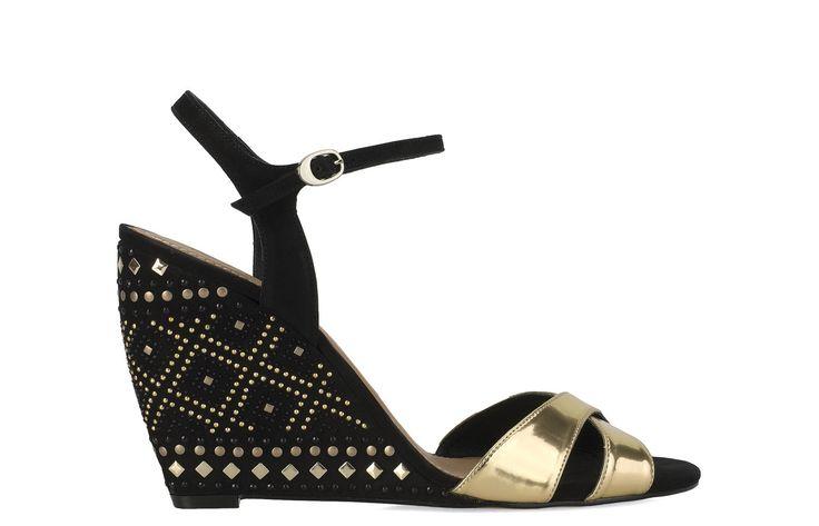 Czarno-złote sandały 24136-16236-04-52 z kolekcji 2014 - sklep internetowy Kazar #kazar