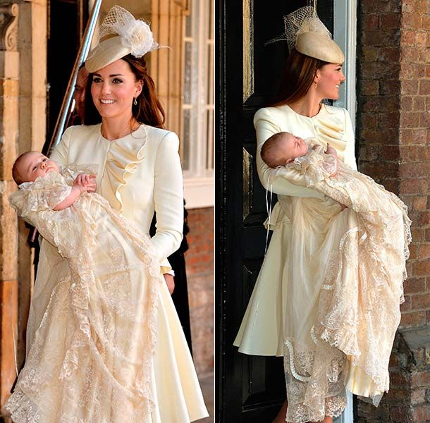 Kate Middleton wearing an ivory cream Alexander McQueen outfit for the christening