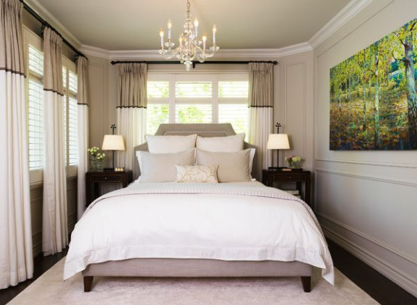 2 toned drapes- the white keeps it airy & the tan creates interest around the top part of the room
