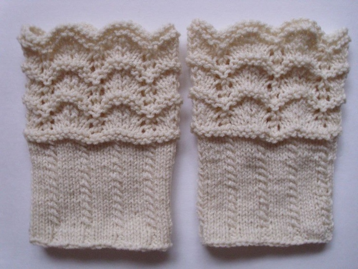 Boot Topper Knitting Pattern : Lace boot cuffs hand knit. Boot toppers. Leg warmers. White color. Ready to s...