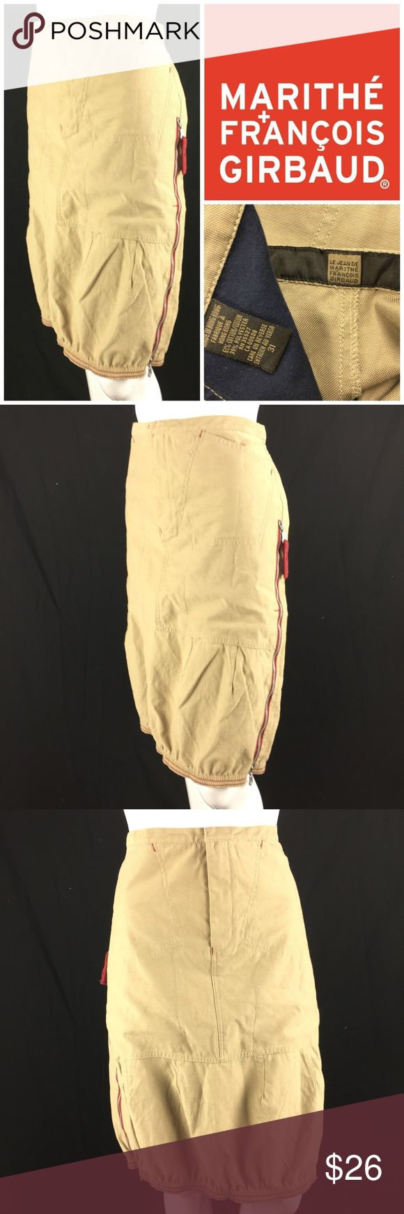 """Vtg Marithe Francois Girbaud Cargo Skirt Sz 31 *  Vtg 90's Marithe Francois Girbaud Khaki Cargo Pencil Skirt  * Decorative & Functional Side Zippers ~  Pockets ~ Back Tie ~ Sz 31 ~ Slight Bubble Hem * Please see below for measurements; all measurements taken with garment lying flat.  Please see all photos for complete condition assessment. Waist: 16.5"""" Hip: 20"""" Overall Length: 24"""" Item Number: 3844 II Girbaud Skirts"""