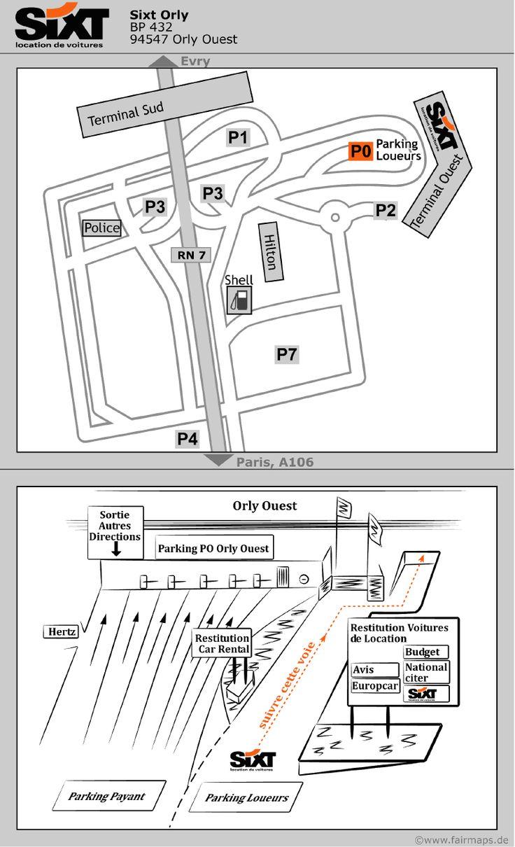 Plan Sixt Orly Aéroport de Paris