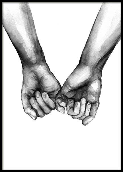 Watercolor Hands No3 Poster in der Gruppe Poster /…