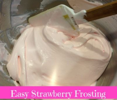 easy strawberry frosting recipe--just three ingredients! #recipes #tasty