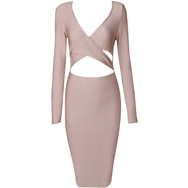 Honey couture ruth pink long sleeve cut out bandage dress ($189) ❤ liked on Polyvore featuring dresses, gowns, long sleeve ball gowns, pink evening gowns, pink bandage dress, sexy long sleeve dresses and long sleeve evening gowns