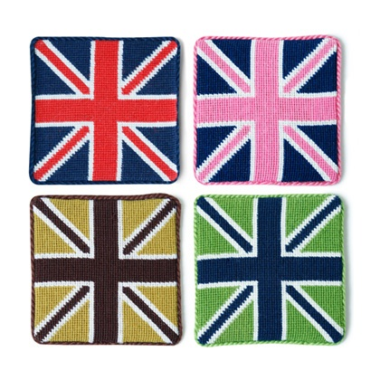Jonathan Adler British Flag Coaster SetJack Coasters, British Flags, Adler British, Needlepoint Coasters, Coasters Sets, Flags Coasters, Jonathan Adler, Adler Needlepoint, Union Jack
