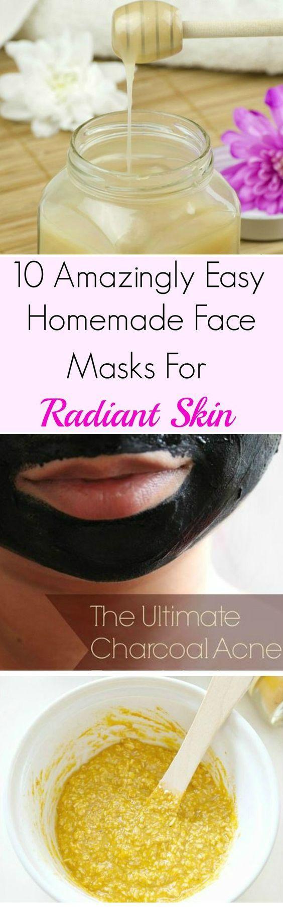 10 Amazingly Easy Homemade Face Masks For Radiant Skin. Wonderful list of DIY…