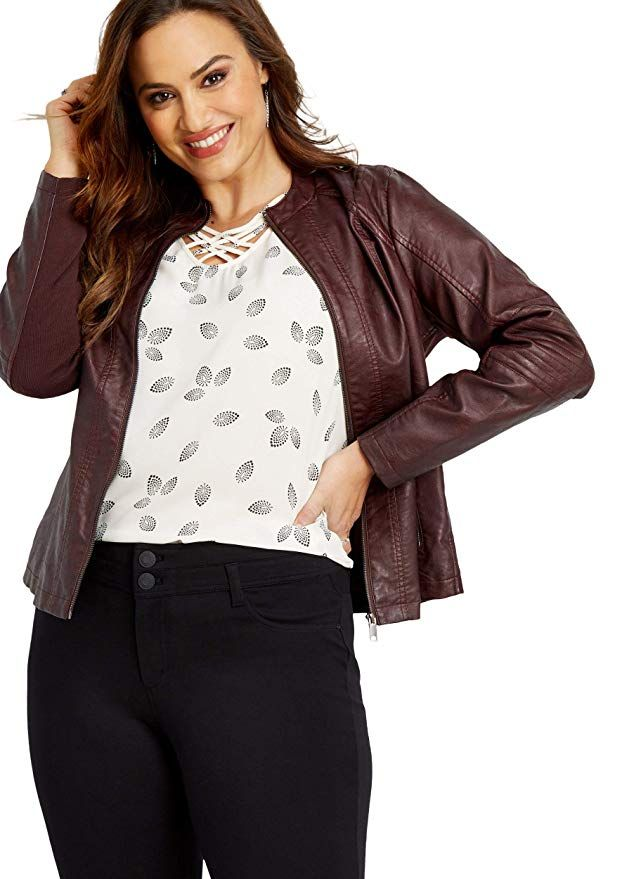 20df8998154 maurices Women s Plus Size Elbow Stitched Faux Leather Jacket ...