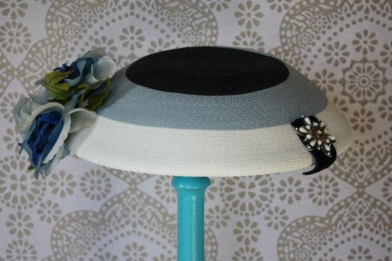 Vintage 1950's 60's Blue and White Hat with by pursuingandie, $42.00