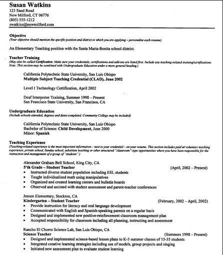 Free Printable Resumes For Teachers