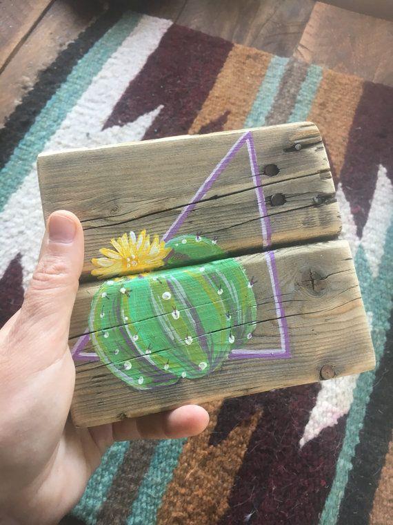 Pintura rústica pequeña de un cactus en por RusticSplinters en Etsy