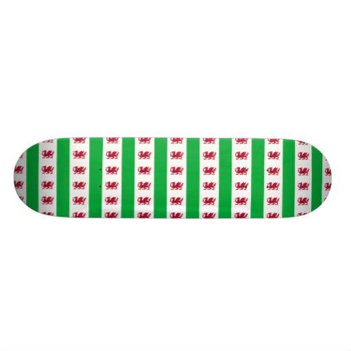 Welsh dragon pattern custom skateboard