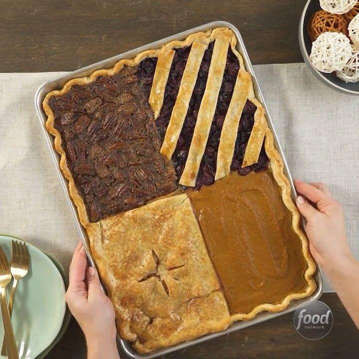 "Thanksgiving Desserts Pecan Pie Pumpkin Pie More: Food Network On Instagram: ""4 Thanksgiving Pies On ONE"