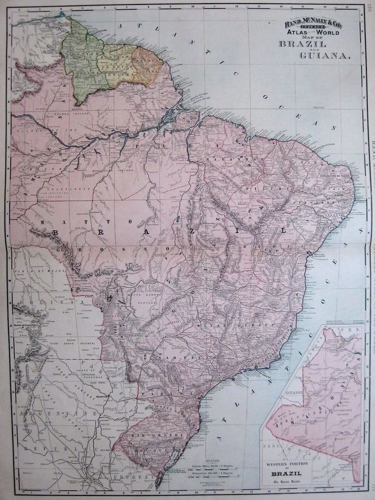 South America Map Borders%0A      Antique BRAZIL Map GUIANA Map Uncommon RARE Poster SIZE South America  Map