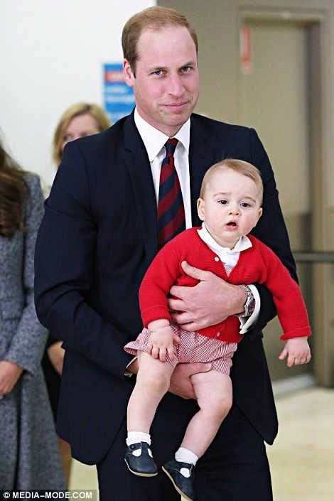 George looked more relaxed as his father William carried him through Sydney airport to catch their flight to London. April 25, 2014