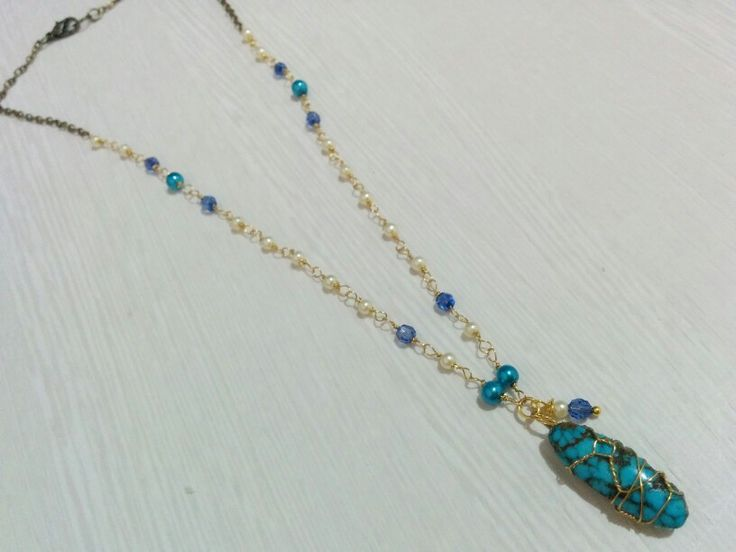 This amazing handmade necklace made from Turkey Turquoise stone.