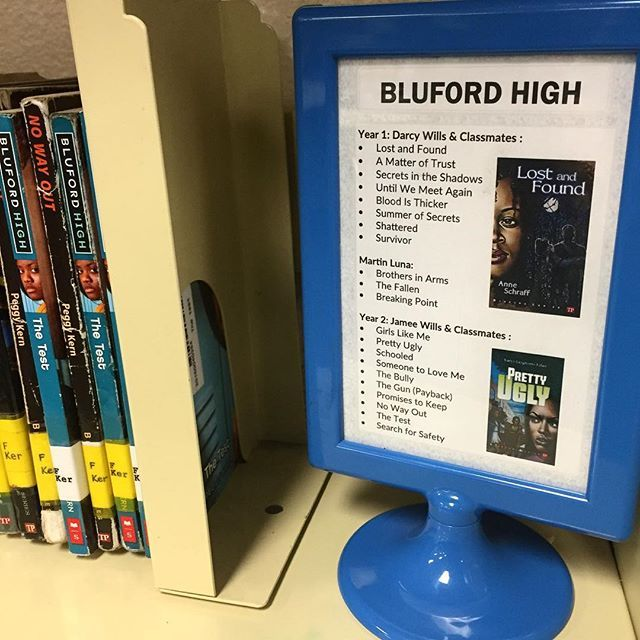Create shelf signs for popular series - this makes it easier for students to figure out what the next book is independently.