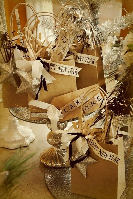 gift basket idea. silver, black, pine, tag, and glitter. scrabble letters a 9 point bonus.