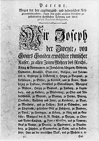 Jozef II. (Svätá rímska ríša) – Wikipédia-1781 tolerančný patent-zrušenie nevoľníctva