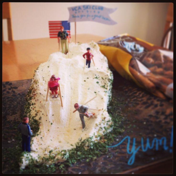 Valley Christian Academy Ski Club party snack! Herbed cream cheese slope with pretzel sticks!! Maryann Wohlwend, 2013