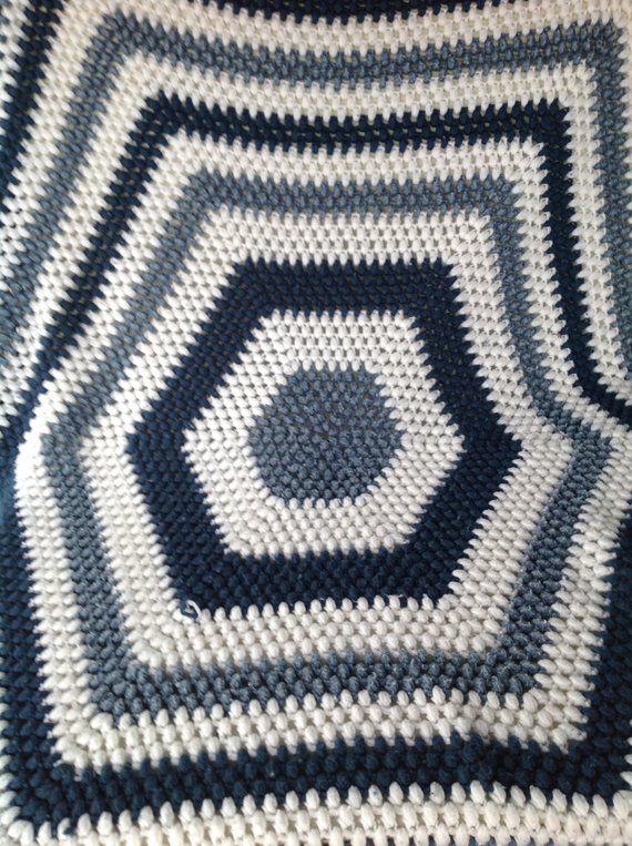 Large vintage afghan HEXAGON 70s hand crocheted blanket