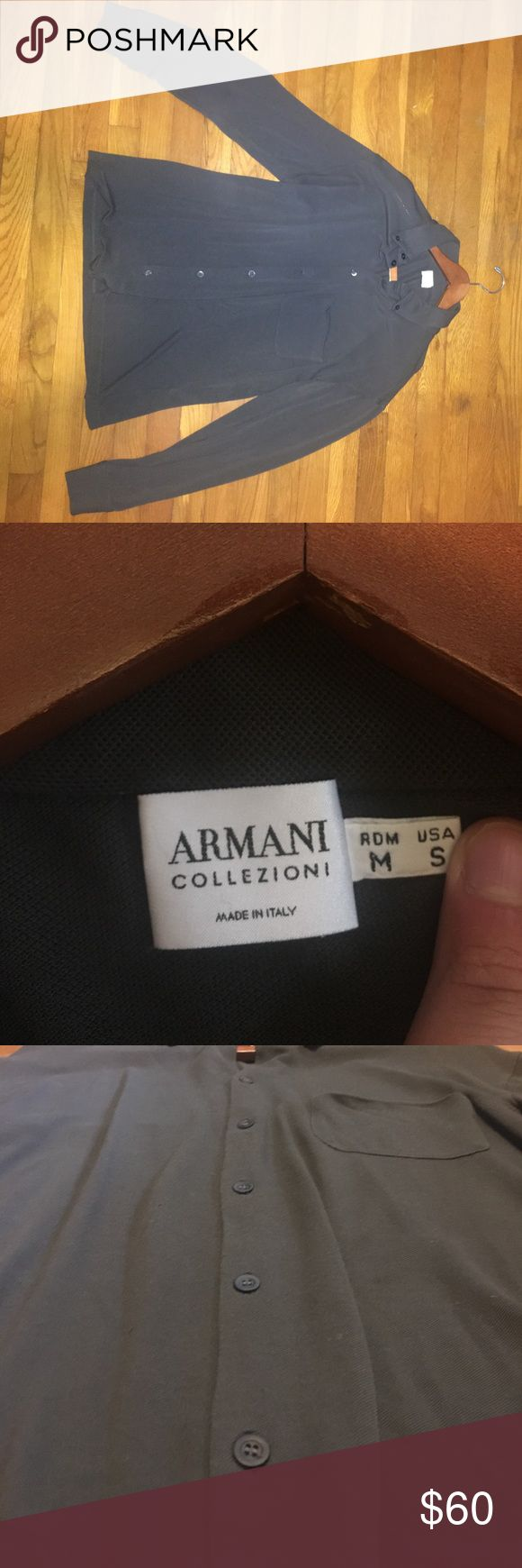 Armani Collezioni long sleeve sweater/dress shirt US size S Armani Collezioni dress shirt sweater. Bought it and only wore it a few times. No stains, tears, or rips.  Pet free, smoke free home. Very unique shirt because it has a dress shirt style with a sweater material. Very comfortable for any season! Price negotiable. Armani Collezioni Shirts Casual Button Down Shirts