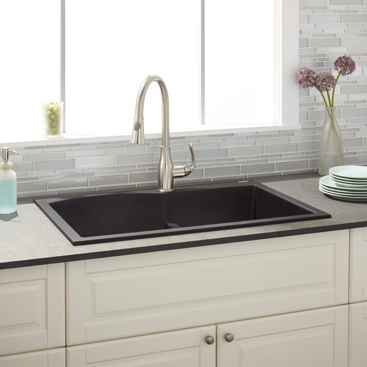 "33"" Walland 60/40 Double-Bowl Drop-In Granite Composite Sink - Single Faucet Hole - Black"