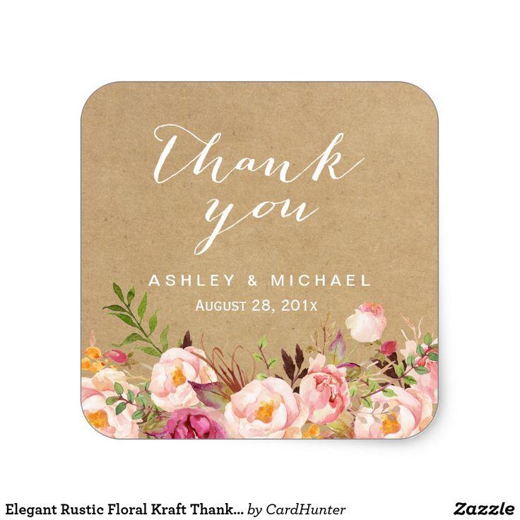 Elegant Rustic Floral Kraft Thank You Square Sticker