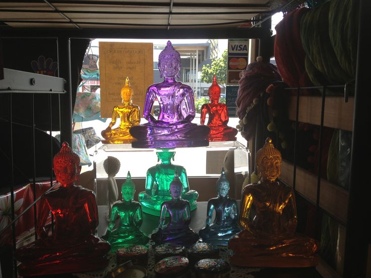 Coloured clear Buddhas.