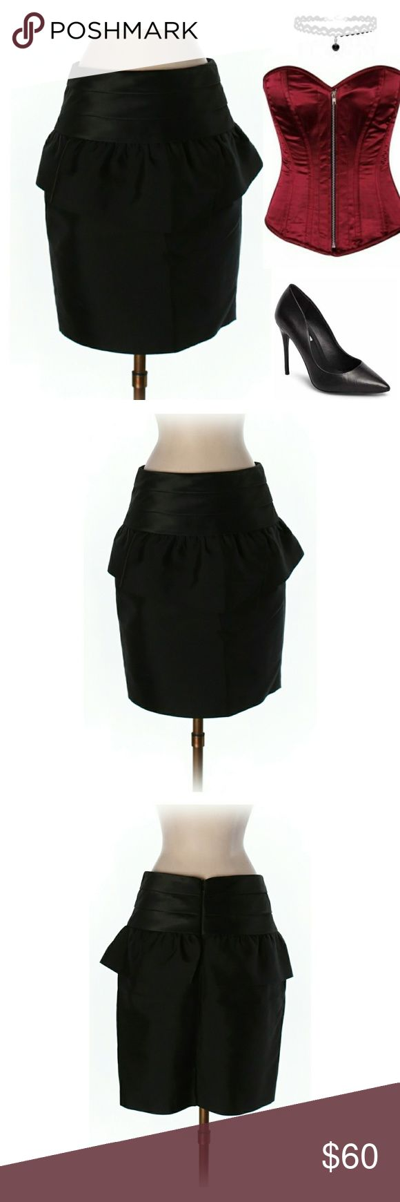 """New! NWOT Reiss Silk Peplum Skirt Approx 18.5"""" Length, 28"""" Waist. Solid black color. Concealed zipper down center back with hook and eye fastener. 5"""" silky band. Peplum layer under band with cross-over detail in front. 3"""" vent to center back hemline. Very sexy skirt! Would look great over a corset top. Peplum silhouette creates hourglass figure. 1st pic is for style inspo. NWOT. Feel free to make an offer!   ***I'm lucky that my buyers have been amazing, but I video record all purchases…"""