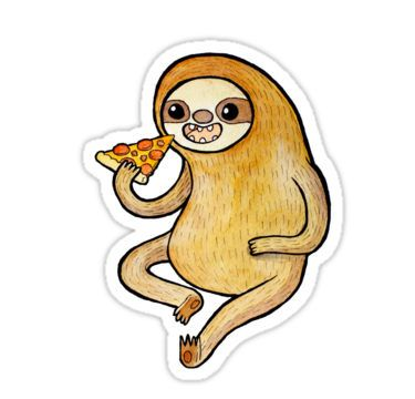 Sloth Eating Pizza Stickers