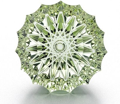 Annual Spectrum Awards - each year the American Gem Trade Association celebrates the skills and achievements of gem cutters.  This Best of Show is by Dalan Hargrave and Stephanie Michael Young - a 125 carat spirographic cut mint green beryl with a concave pavilion and flat faceted crown.