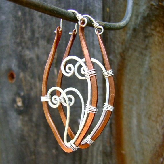 Mixed Metal Twin Fern Hoop Earrings, Copper and Sterling Silver. Jewelry by FullSpiral on Etsy on Etsy, $55.00