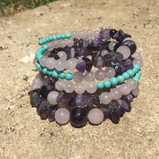 5 x wrap Rose Quartz, Amethyst, & Magnesite spiral crystal gemstone healing bracelet.  *****SOLD OUT*****