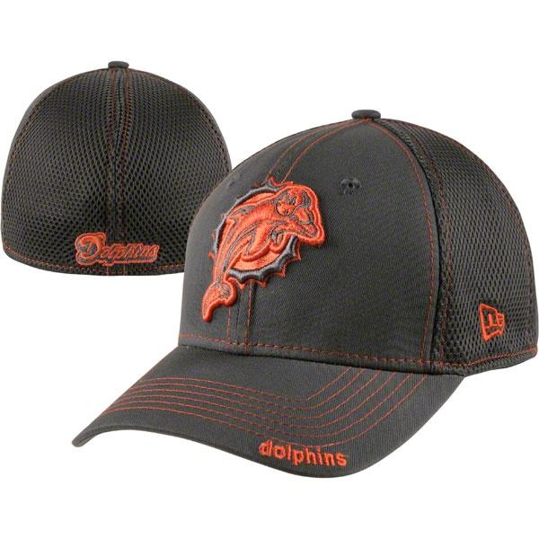Miami Dolphins New Era 39THIRTY Graphite Neo Flex Hat