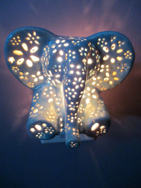 Ceramic elephant night light by LilysLights on Etsy, $22.00