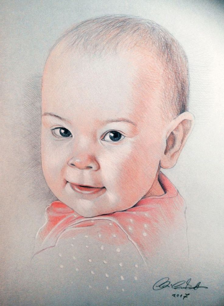 baby girl portrait - colored pencil drawing
