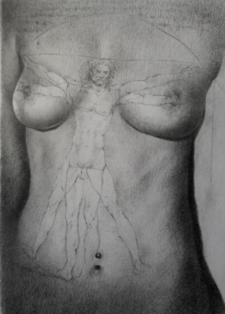 The Vitruvian Woman. Graphite on Stonehenge
