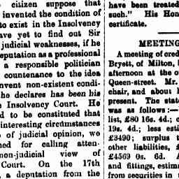 "22 Feb 1894 - Notice ""Meeting of Creditors"" of bankrupt estate of Albert Bryett of Milton, builder (Craig's great, great-grandfather) - due to depreciation in value of property due to the floods. Allowed to keep his furniture."