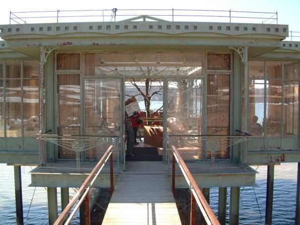 Glass house built for the movie The Lake House on Maple Lake in Willow Springs, Illinois.