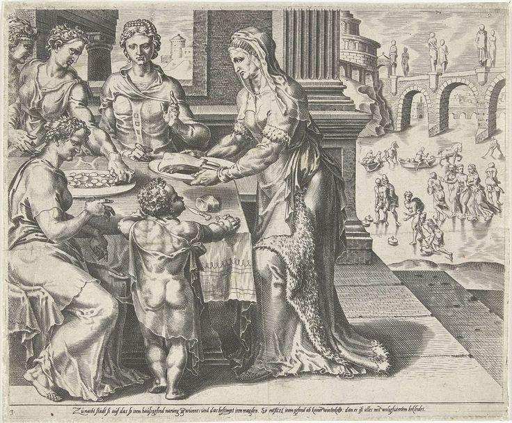 Dirck Volckertsz Coornhert | De Deugdzame vrouw bedient haar gezin, Dirck Volckertsz Coornhert, Maarten van Heemskerck, Cornelis Bos, 1555 | De deugdzame vrouw serveert voedsel voor haar gezin. Op de achtergrond een wintertafereel met schaatsers op een rivier. De prent is gebaseerd op Spreuken 31:15: 'Ze staat al op als het nog donker is, regelt het werk in huis, draagt haar slavinnen taken op' en Spreuken 31:21: 'Niemand in haar huis hoeft sneeuw te vrezen, zij heeft hen allen warm…