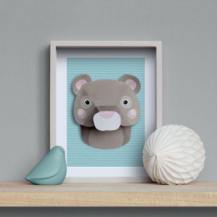 cool trophe animaux en papier ours brun diy bear paper wwwidee bb pandatrophe with cadre chambre. Black Bedroom Furniture Sets. Home Design Ideas