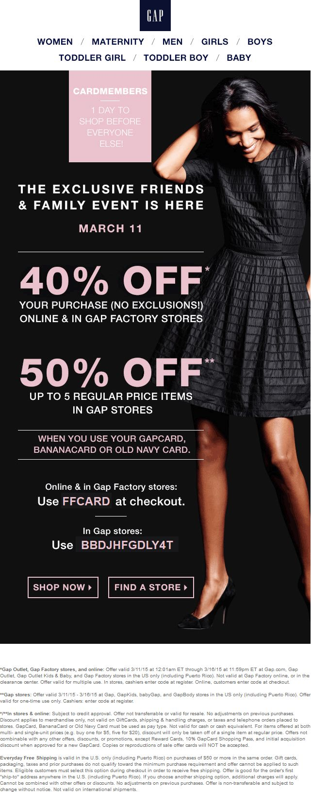 Pinned March 11th: 40-50% off at #Gap #Gap Outlet & #Gap Factory or online via promo code FFCARD #coupon via The #Coupons App