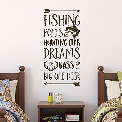 Fishing Poles and Hunting Gear Dreams of Bass and Big Ole Deer Vinyl Wall Decal by Wild Eyes Signs. Fishing, Cabin, Lake, Wall Decal, Cottage, Cabin, Nursery, Woodland CT4580. Fishing poles and Hunting Gear, Dreams of Bass and Big Ole Deer Add this wall decal to your nursery, cabin, cottage or home. These great arrows, fish (bass) and antlers will add that extra needed to make your space complete! ~~PRODUCT DESCRIPTION~~ * Removable vinyl wall decal * Colors can be selected from color...