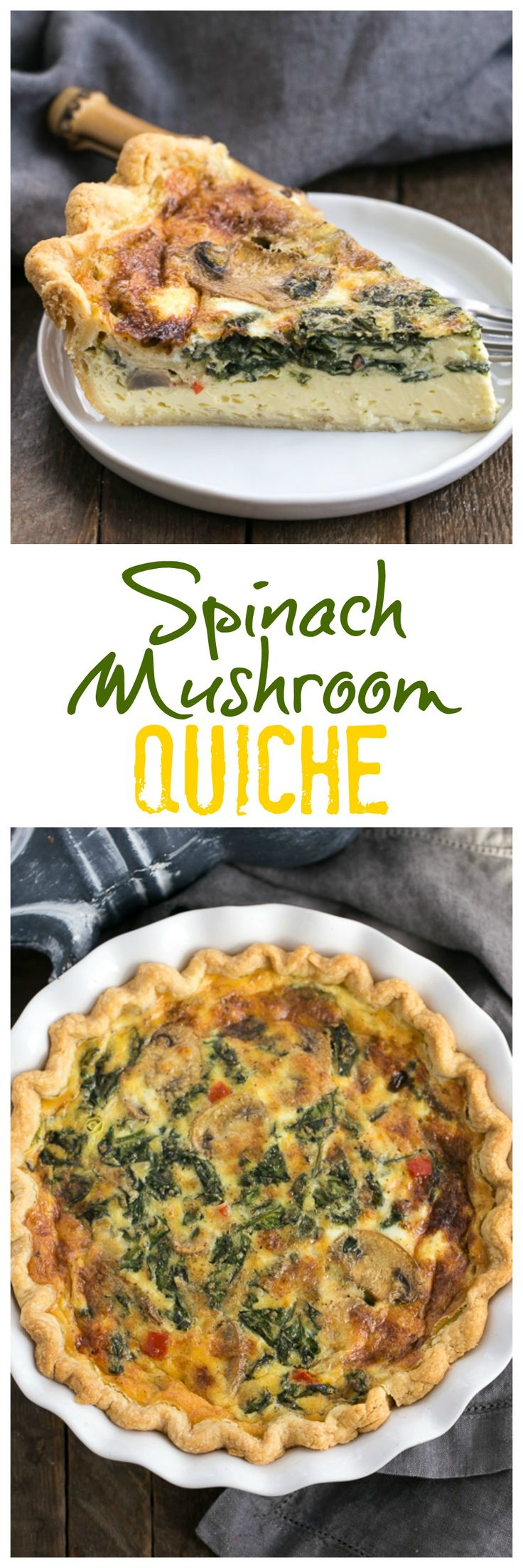 Spinach Mushroom Quiche | A rich, tender quiche full of cheese and vegetables @lizzydo
