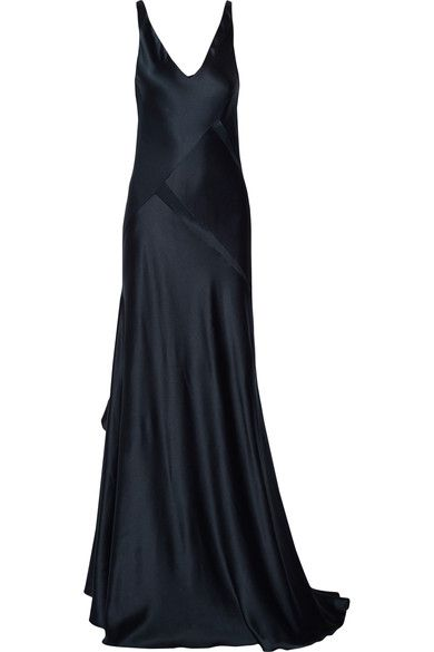 Navy silk-satin Slips on 100% silk Dry clean Made in Italy