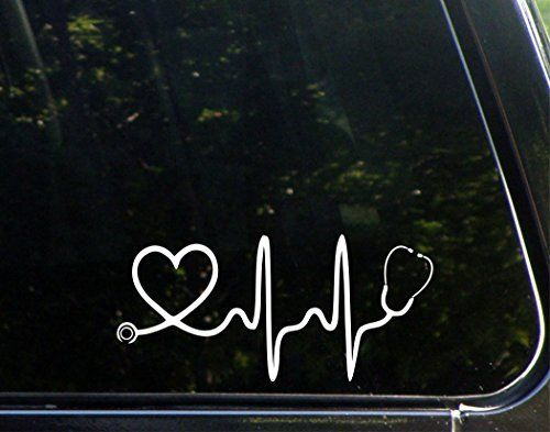 "Stethoscope -Doctor- Nurse -Heart - 8""x 3 3/4"" - Vinyl Die Cut Decal / Bumper Sticker For Windows, Trucks, Cars, Laptops, Macbooks, Etc."