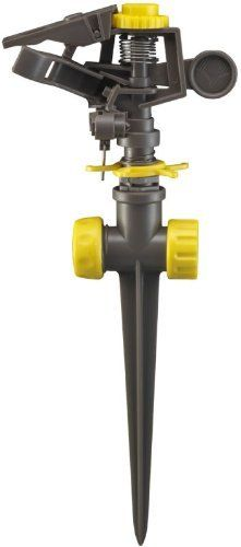 Gilmour 50200 Plastic Rain Pulse Sprinkler Head with Plastic Spike by Gilmour. $4.44. Impact resistant plastic head. Plastic series connection spike base. This plastic rain pulse sprinkler features circular spray pattern up to 85-feet diameter. The connection spike base includes full or part circle spray pattern adjustment and water-saver arm. This plastic rain pulse sprinkler features circular spray pattern up to 85-feet diameter. Impact resistant plastic head. Plastic seri...
