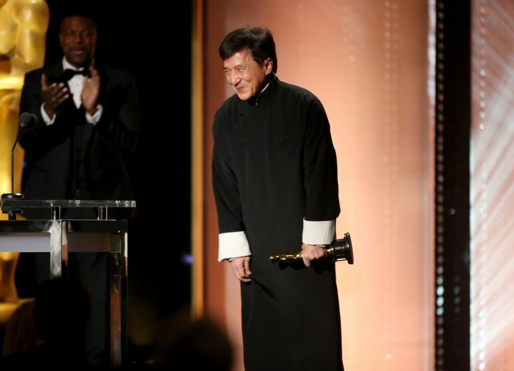 Martial artist and actor Jackie Chan has been awarded an Oscar, a prize he's coveted since he saw one at Sylvester Stallone's house 23 years ago. The honorary statuette was presented to Chan by his Rush Hour co-star Chris Tucker and fellow actors Michelle Yeoh and Tom Hanks at the annual Governors Awards in LA on Saturday, a ceremony attended by Denzel Washington, Lupita Nyong'o, Nicole Kidman, Emma Stone, Ryan Reynolds, Amy Adams and more.